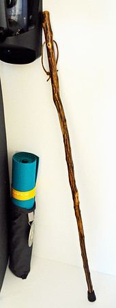 Yoga mat and walking stick available in each room at the Taconic Hotel in Manchester, VT