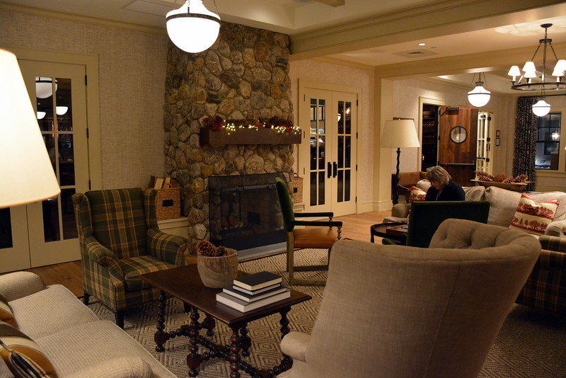 The lobby with its double-sided fireplace at the Taconic Hotel in Manchester, VT